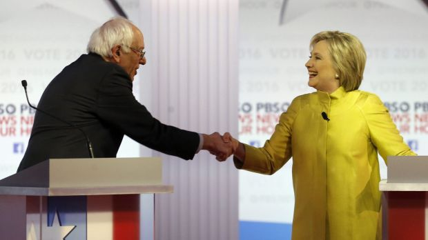 Bernie Sanders and Hillary Clinton shake hands after the debate at the University of Wisconsin-Milwaukee.