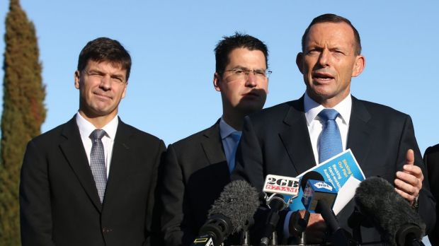 Angus Taylor, left, with Senator Zed Seselja and then prime minister Tony Abbott at the Pialligo Estate Farmhouse ...