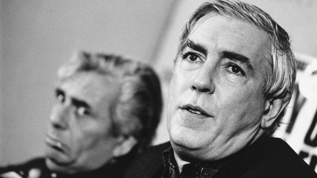 Sir Les Patterson and Peter Cook front the first Melbourne International Comedy Festival launch in 1987.