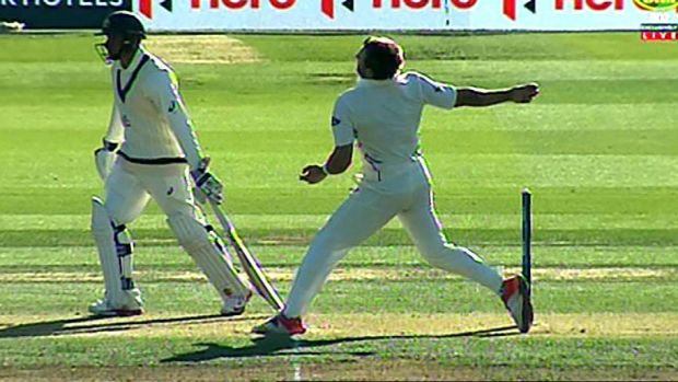 The damning evidence: Doug Bracewell's foot was clearly on the line when he clean-bowled Adam Voges.