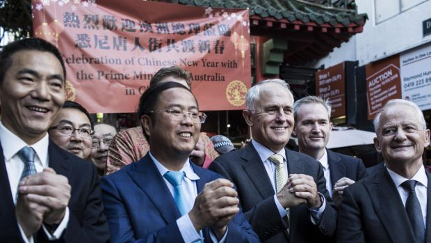 """""""My friends, the future is so bright"""": Malcolm Turnbull with Chinese Consul General Mr. Li Huaxin."""