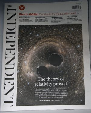 A copy of The Independent newspaper in a shop in London.