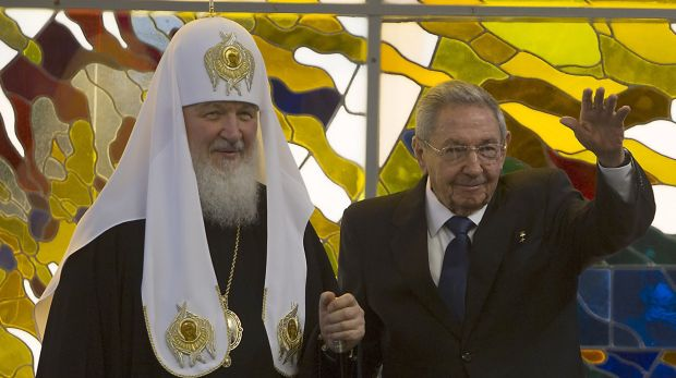 The head of the Russian Orthodox Church Patriarch Kirill, left, and Cuban President Raul Castro at a meeting at ...