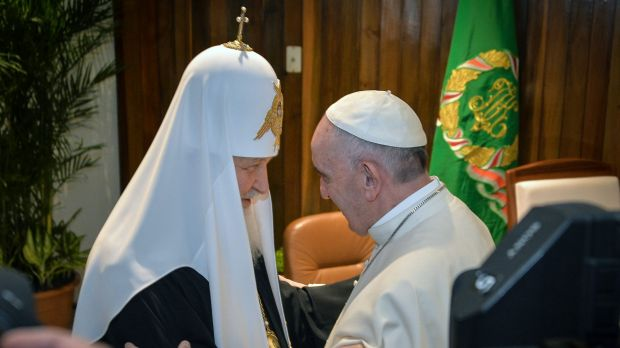 The head of the Russian Orthodox Church Patriarch Kirill, left, and Pope Francis greet each other at the Jose Marti ...