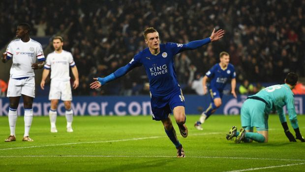 Vardy party: Jamie Vardy celebrates a goal against Chelsea in December.