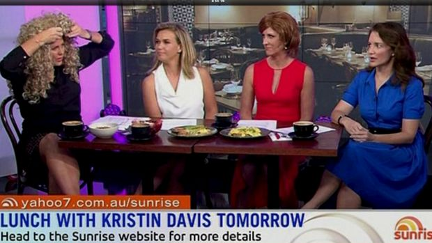 Sam Armytage dons a wig on <em>Sunrise</em> and makes Kristin Davis do a cringy re-enactment of <i>Sex And The City</i> ...