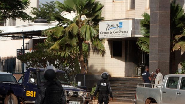 Mali police outside the Radisson Blu hotel after an attack by gunmen in November 2015.