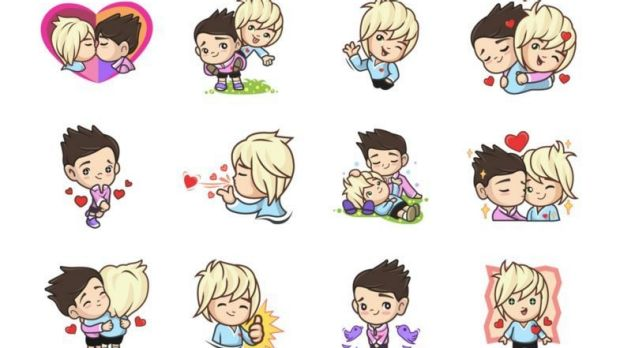 A collection of gay emojis available on the LINE Store in Australia but now unavailable to Indonesians.