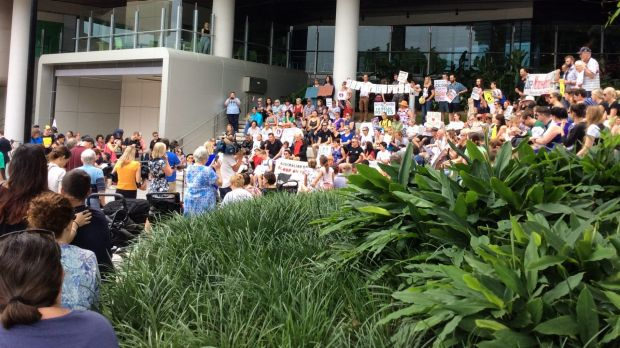 An overnight vigil at Lady Cilento Children's Hospital has become a rally.