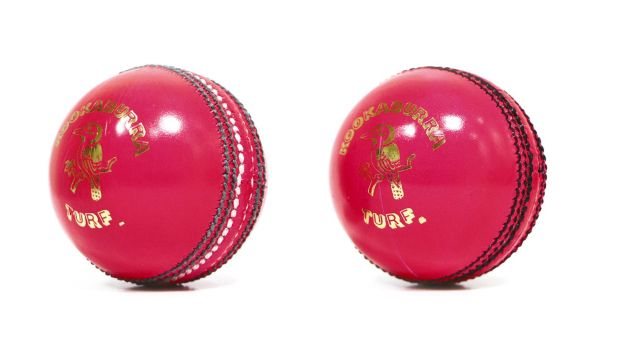 Pink balls old and new: New (right) has black stitching instead of green and white (left)