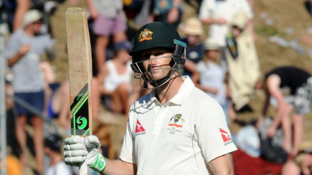Adam Voges salutes the crowd after ending the day on 176 not out.