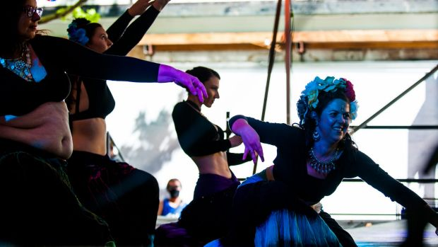 Obsidian Belly Dance Troupe  performer Ludi Le-Gal at centre stage.