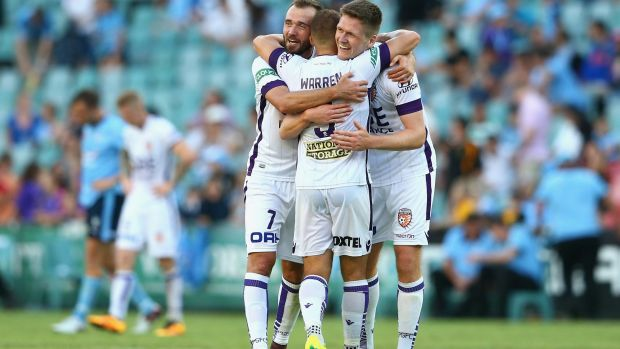 Finals push:  Gyorgy Sandor, Marc Warren and Alexander Grant celebrate after the Glory's win.