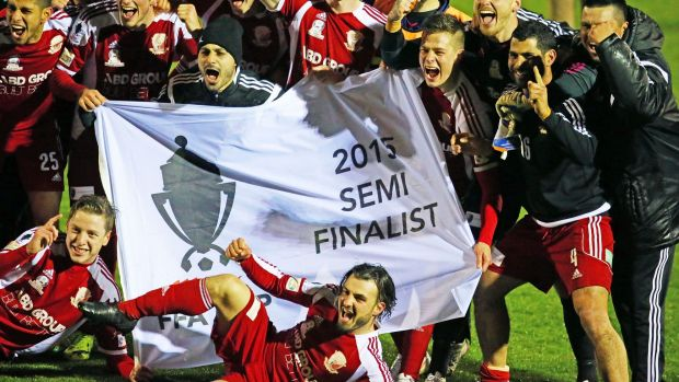 Hume City celebrate after winning the FFA Cup quarter-final against Oakleigh Cannons.
