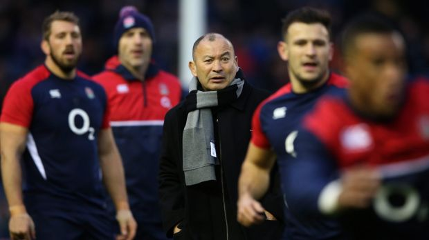 New approach:  Eddie Jones watches over the England pre-match warm-up during the Six Nations match against Scotland at ...