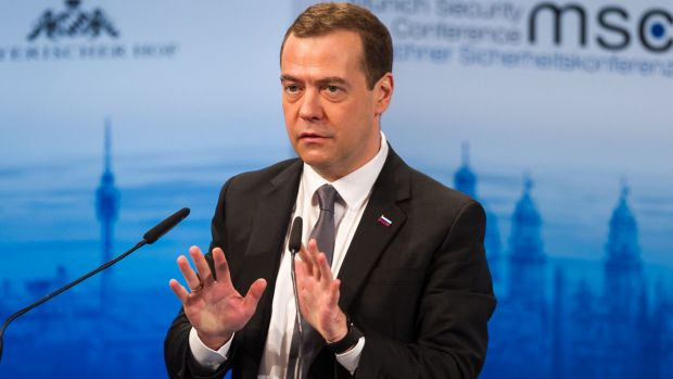 """There is no evidence of our bombing civilians"": Russian Prime Minister Dmitry Medvedev."