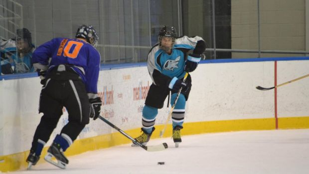 Michael Coulter, impersonating an ice-hockey player