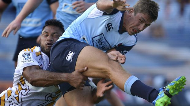 Caught: Harry Jones kicks during the Super Rugby trial match between the Chiefs and the Waratahs at Rotorua ...