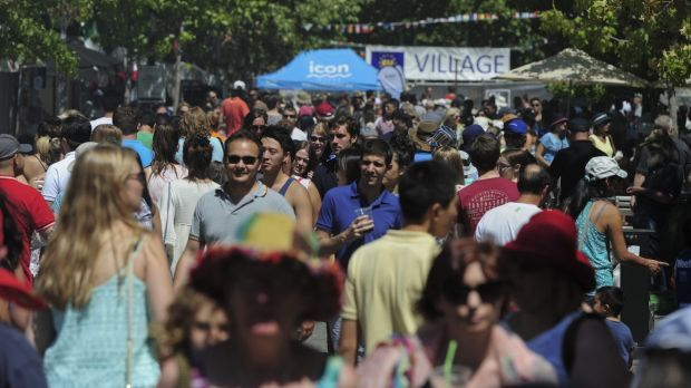 Crowds flock to City Walk for the festival on Sunday.
