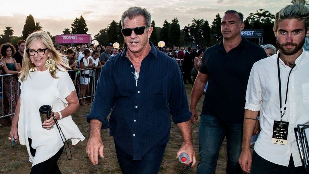 Mel Gibson arrives at Tropfest at Centennial Park.