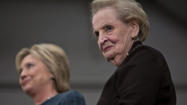 Former US secretary of state Madeleine Albright, right, has urged women to give Hillary Clinton their votes.