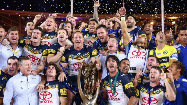 Jubilation: The Cowboys after last year's golden-point grand final win.