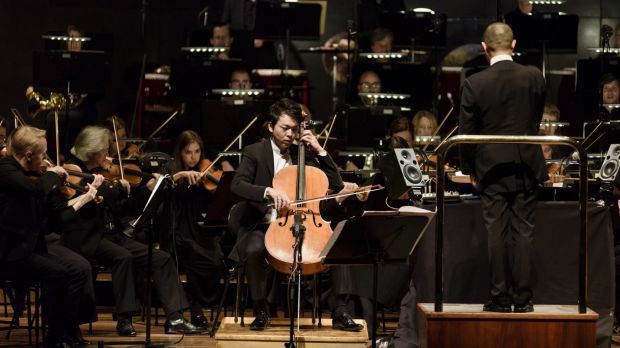 Cellist Li-Wei Qin with the Melbourne Symphony Orchestra during the Chinese New Year concert.