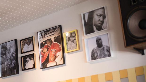 The tribute to Biggie Smalls on the wall of Shane Delia's Melbourne diner.
