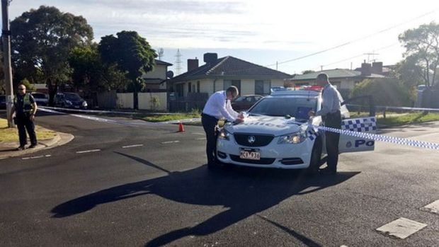 Police on View Street in Glenroy after Monday morning's shooting.