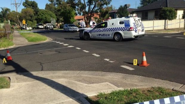 Police at the scene of the shooting in Glenroy.