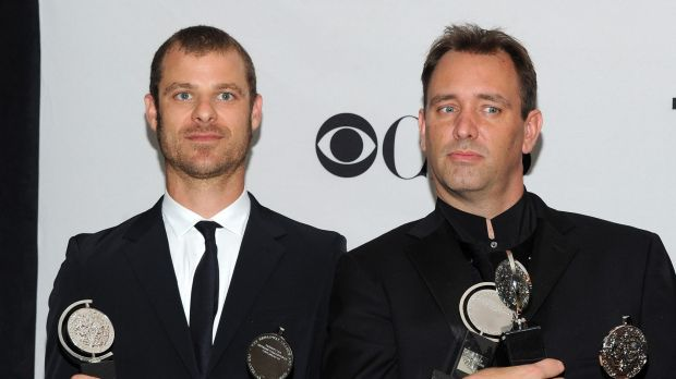 Matt Stone (left) and Trey Parker with their Tony awards for The Book of Mormon.