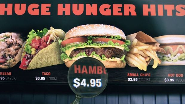 Better fast food labelling is urgently needed, according to Cancer Council Victoria. Pictured is a mocked up version of ...