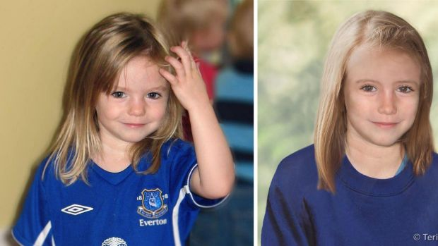 Composite photos showing three-year-old Madeine McCann, left, with a computer generated age progression image of the ...