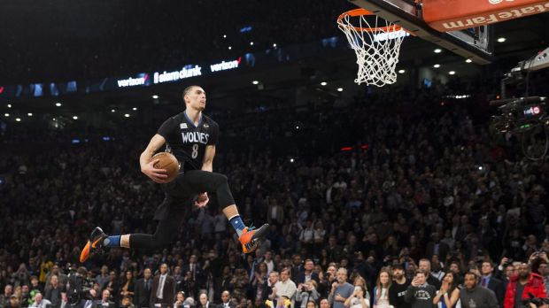 Air time: Minnesota Timberwolves guard Zach LaVine flies to the hoop during the NBA All-Star dunk contest.