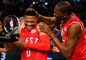 Trophy: All Star game MVP Russell Westbrook with Oklahoma City Thunder teammate Kevin Durant.