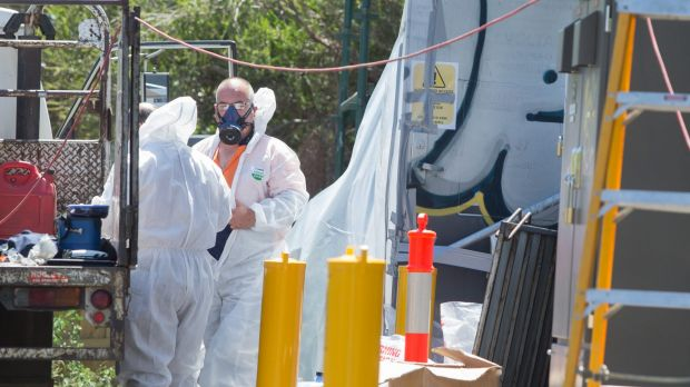 Workers prepare to remove asbestos from the substation in Thornbury.