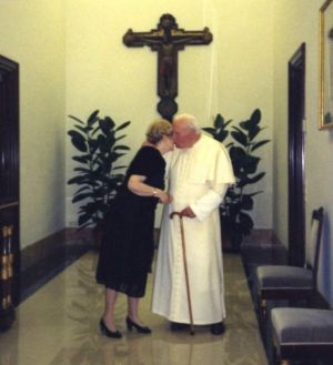 Anna-Teresa Tymieniecka and John Paul II share a quiet moment in the Vatican.