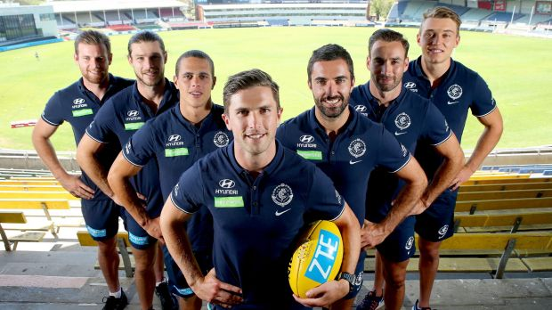 New Carlton leadership group (L-R): Sam Docherty, Bryce Gibbs,  Ed Curnow, Marc Murphy (captain), Kade Simpson, Andrew ...