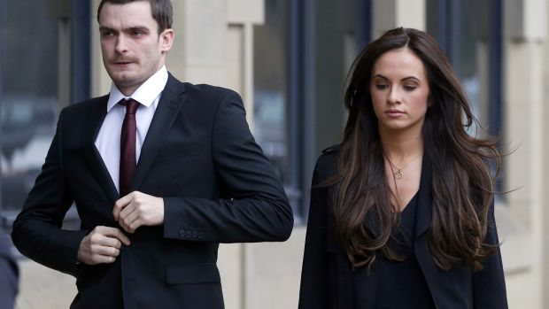 Former Sunderland and England soccer player Adam Johnson, 28, pictured with partner Stacey Flounders outside Bradford ...