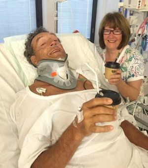 Peter Crinis, with wife Vicki, is recovering in hospital.