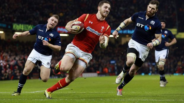 Rolling back the years: George North scores Wales' third try in Cardiff.