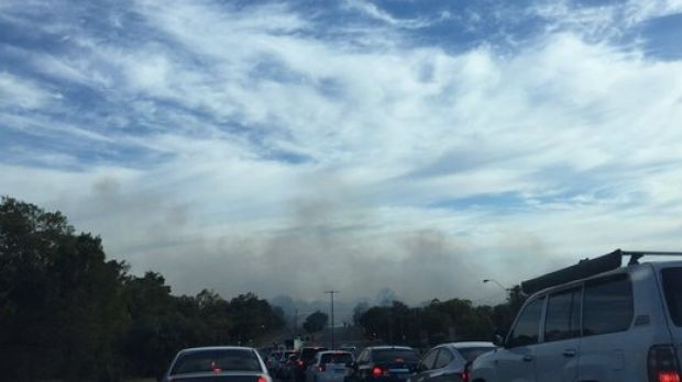 The fire broke out in Bibra Lake and is moving slowly towards Coolbellup.