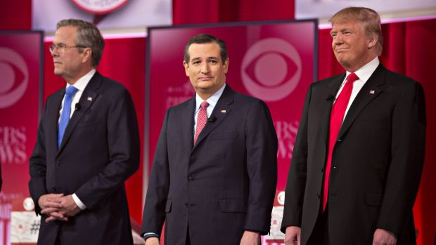 Bad blood: Mr Trump with (from left) Jeb Bush and Ted Cruz at a Republican Party debate in South Carolina in February.