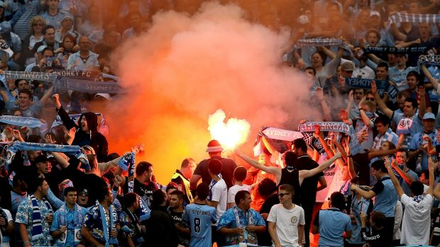 No more: Sydney FC coach Graham Arnold doesn't want a repeat of scenes like this one in Gosford last year.
