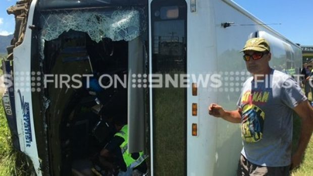 One man has died and other passengers injured in a bus crash near in Cannonvale, near Airlie Beach.
