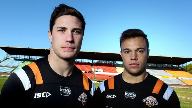 Ready to show their wares:  Wests Tigers halves Mitchell Moses and Luke Brooks.