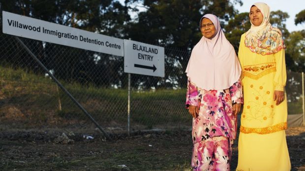 Piah Samad and Noriatin Umar, the mother and sister of convicted killer Sirul Azhar Umar, are seen in March 2015 outside ...