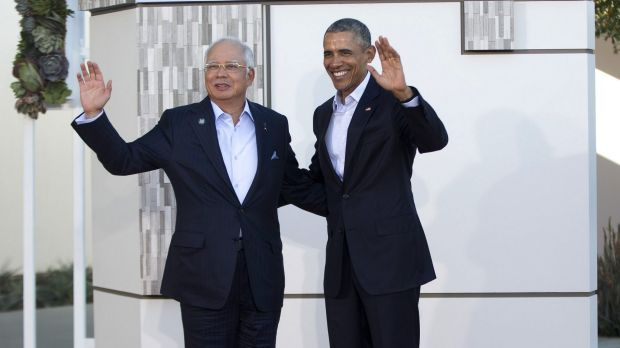 Malaysian Prime Minister Najib Razak with US President Barack Obama at the ASEAN leaders' summit in California earlier ...
