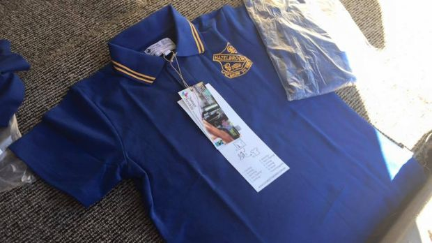 The new Hazelbrook Public School polo shirt, which is made from cotton and recycled polyester.