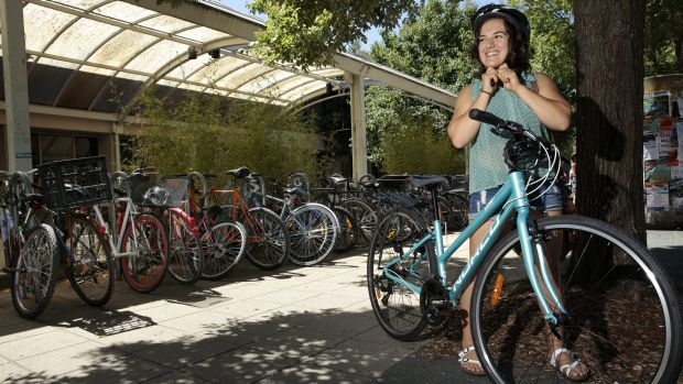 ANU student Ali Carrera says a no-helmet rule in low speed areas would make it easier for cyclists.